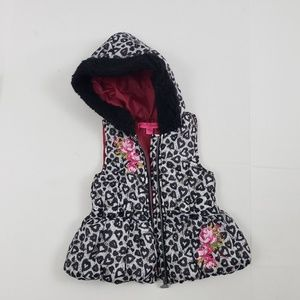 Betsey Johnson 3T Hooded Puffer Vest Heart Print